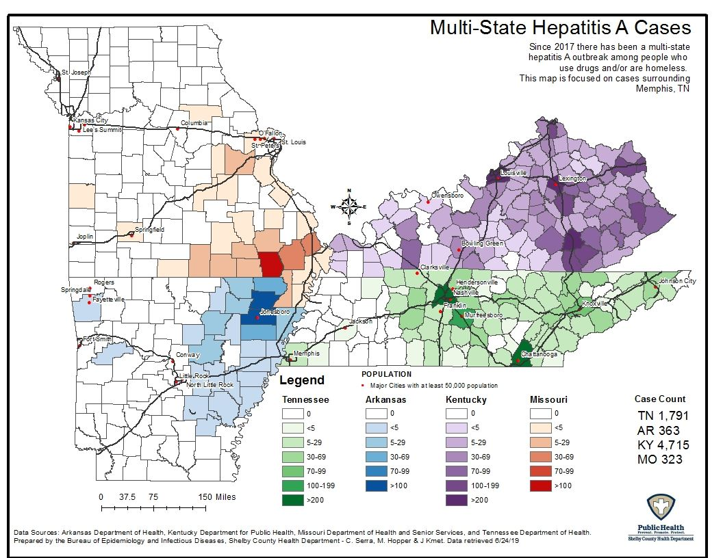 Hepatitis A Cases Multi-State Map