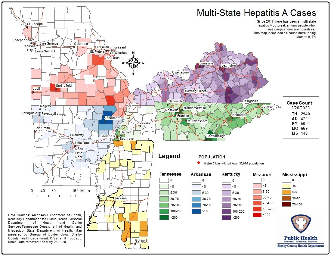 Hepatitis A Cases Multistate Map