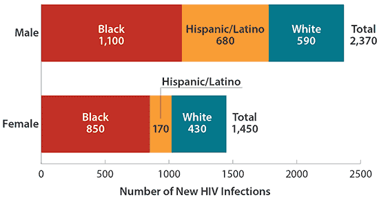 A graph demonstrating demographics contracting HIV infections.